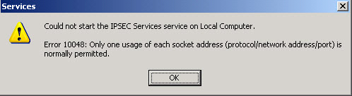 IPCSEC Services won't start