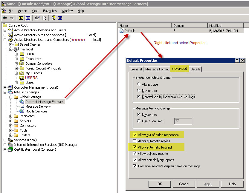 Automatic replies to Internet recipients are disabled in Exchange Server 2003